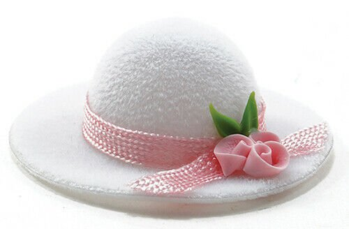 Miniature Dollhouse Ladies Hat White With Pink Rose Trim 1:12 Scale New