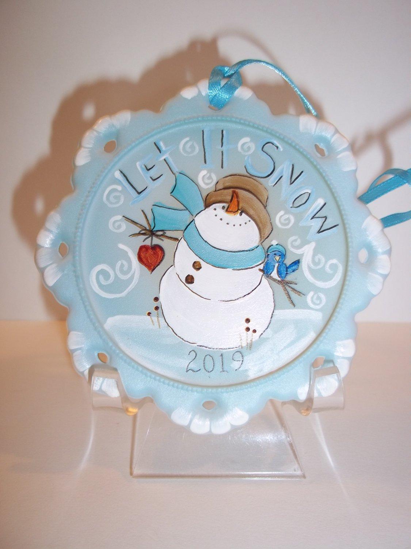 "Fenton Glass ""Let It Snow"" Snowman Christmas Ornament Ltd Ed #31/35 K Barley"