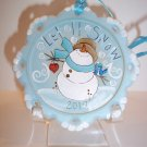 "Fenton Glass ""Let It Snow"" Snowman Christmas Ornament Ltd Ed #31/35 K Barley"