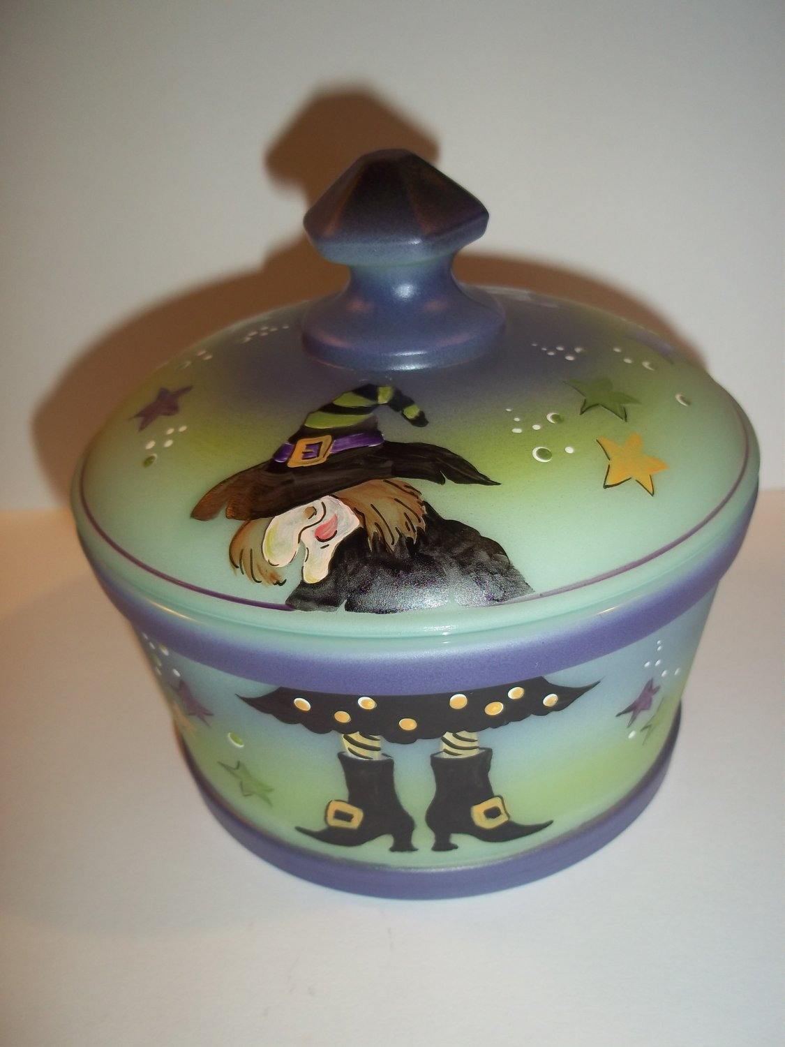 "Fenton Mosser Glass ""Which Witch"" Halloween Candy Dish Covered Box Ltd Ed #4/6"