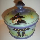"""Fenton Mosser Glass """"Which Witch"""" Halloween Candy Dish Covered Box Ltd Ed #4/6"""
