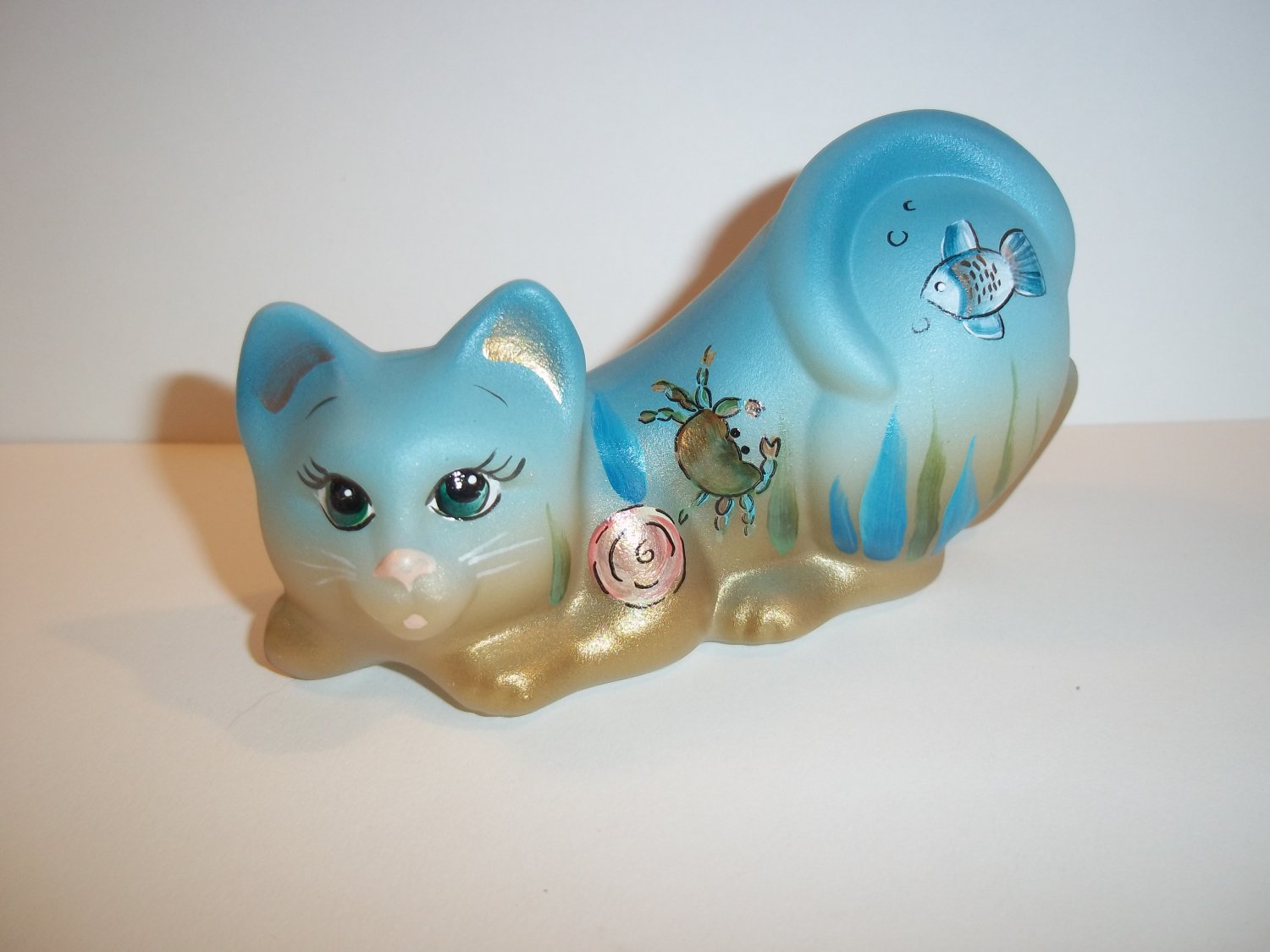 "Fenton Glass ""Under The Sea"" Crouching Cat Kitten Figurine Ltd Ed #2/8 K Barley"