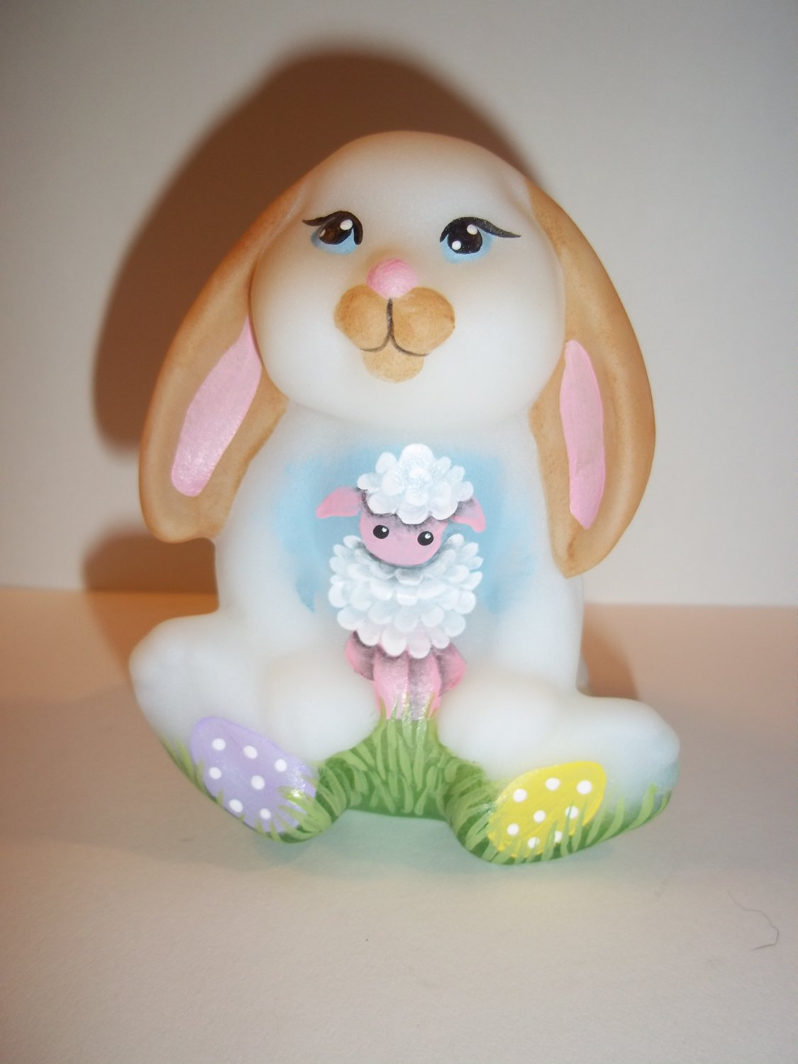 Fenton Glass Easter Bunny Rabbit w Lamb & Chick NFGS Exclusive by CC Hardman