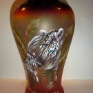 Fenton Glass Zebra Horse & Foal Sunset Vase Ltd Ed GSE #1 of 8 JK Spindler