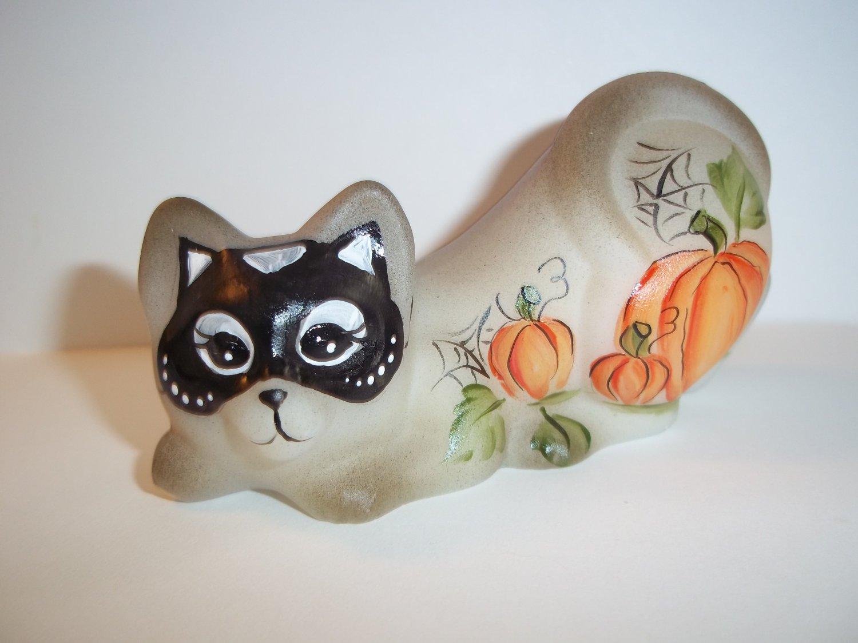 Fenton Glass Halloween Mask Crouching Cat Kitten Figurine Ltd Ed #11/23 M Kibbe