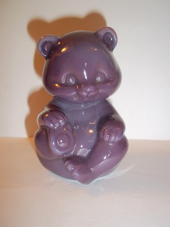 Fenton Glass Eggplant Purple Sitting Bear Figurine
