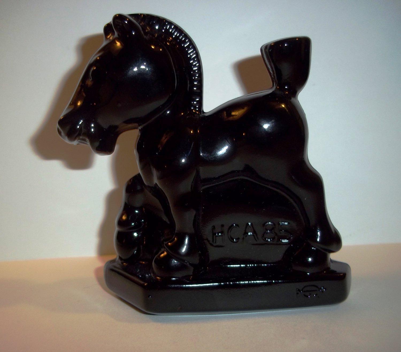 Heisey by Imperial Glass Black Oscar Sparky Plug Horse Pony Stallion HCA '85