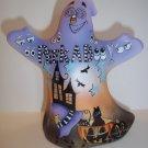 "Fenton Glass ""Peek A Boo"" Halloween Ghost Figurine Black Cat LE #7/11 Kim Barley"