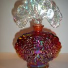 Fenton Glass Ruby Red Carnival Flower Pattern Perfume Bottle with Stopper