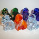 "Rare Degenhart Glass Miniature ""Joe"" Pooche Dog Set of Seven Shiny Carnival Slag"
