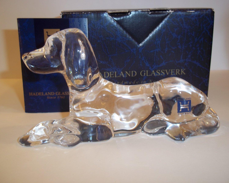 Hadeland Norway Norwegian Crystal Glass Setter Dog Figurine Original Box & Label