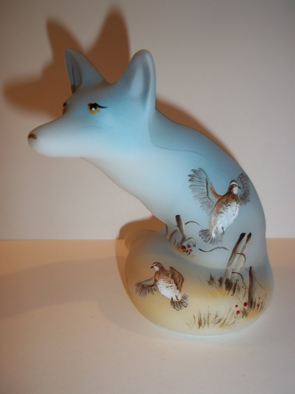 Fenton Glass Bobwhite Quail Bird Fox Figurine Ltd Ed GSE M. Kibbe #6/17