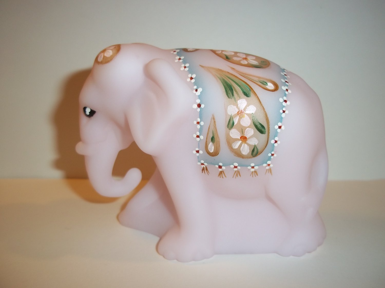 Fenton Glass Pink Satin Working Worker Elephant Figurine NFGS 30th Anniversary