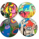 Guillaume Corneille Cat Abstract Paintings Bar Drink Glass Coasters Set of 4