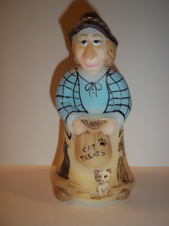 "Fenton Glass ""Cat Treats"" Halloween Witch Figurine Ltd Ed M. Kibbe #3/11"