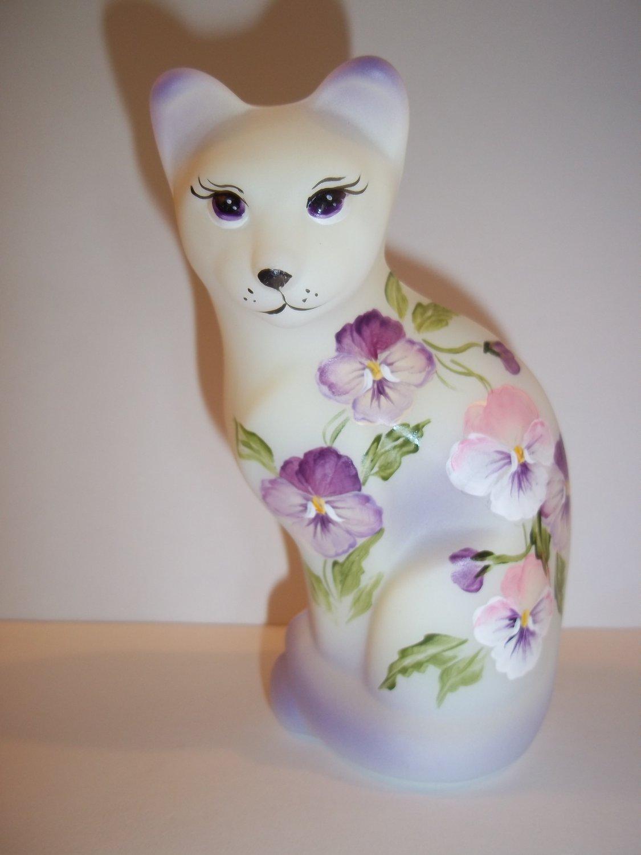 Fenton Glass Purple & Pink Pansies Stylized Cat Kitten Ltd Ed M Kibbe #2/23