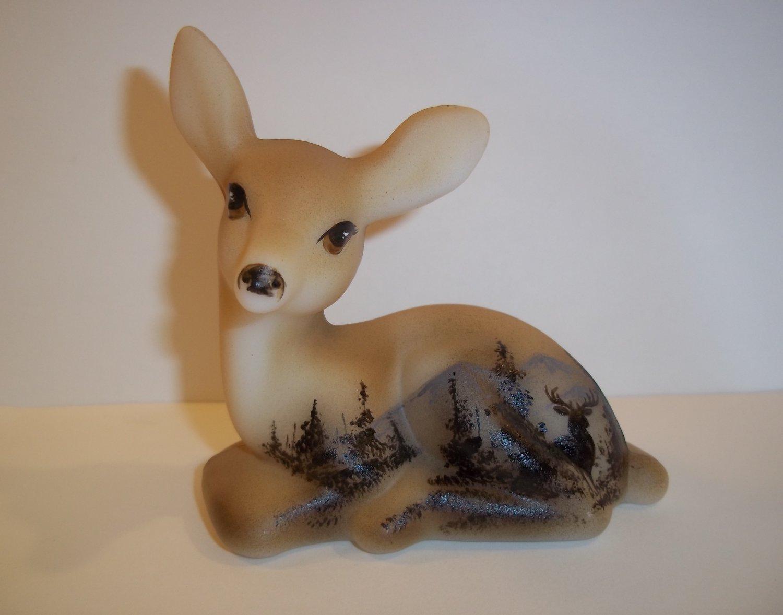 Fenton Glass Fawn Deer Buck Silhouette & Pines Figurine Ltd Ed #1/11 GSE Kibbe