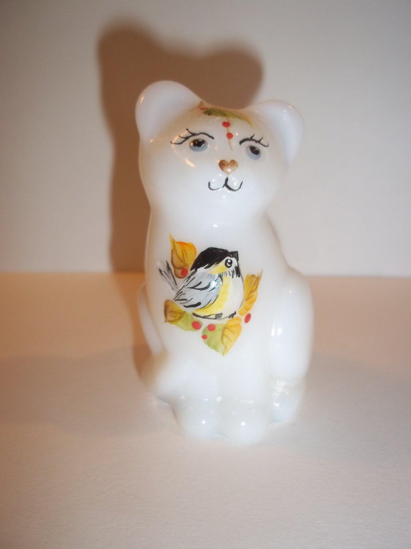 Fenton Glass Fall Chickadee Birds Mini Kitten Cat Figurine FAGCA Ltd Ed of 29