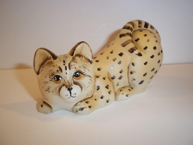 Fenton Glass Natural Cheetah Crouching Cat Kitten Figurine Ltd Ed #11/31 M Kibbe