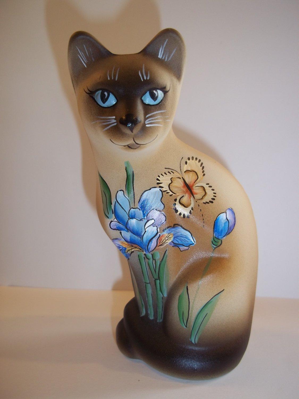 Fenton Glass Stylized Siamese Cat Blue Iris & Butterfly Ltd Ed K Barley #4/20