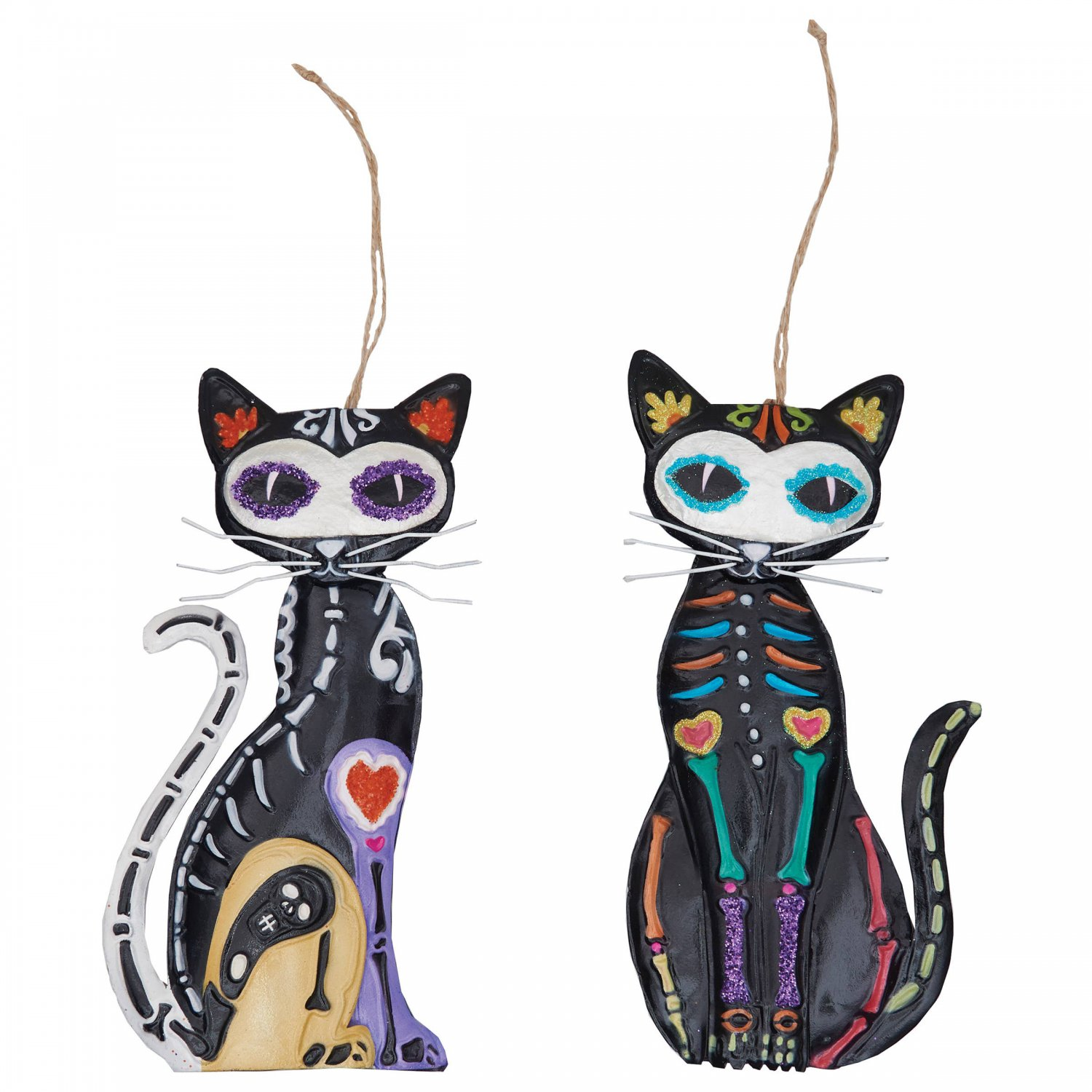 """Sassy Day Of The Dead Sugar Skull Cat Metal Hanging Ornament Set of Two 7"""""""