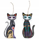 Sassy Day Of The Dead Sugar Skull Cat Metal Hanging Ornament Set of Two 7""