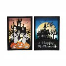 Haunted House Halloween Ghost Jack-O-Lantern Shadowbox LED Lighted Decoration Set of 2