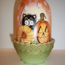 Fenton Glass Trick or Treat Halloween Black Cat Fairy Light K Barley LE #2/19