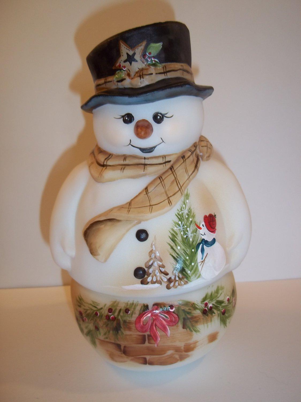 Fenton Glass Holly Basket Snowman Fairy Light Lamp Ltd Ed #2/15 M Kibbe