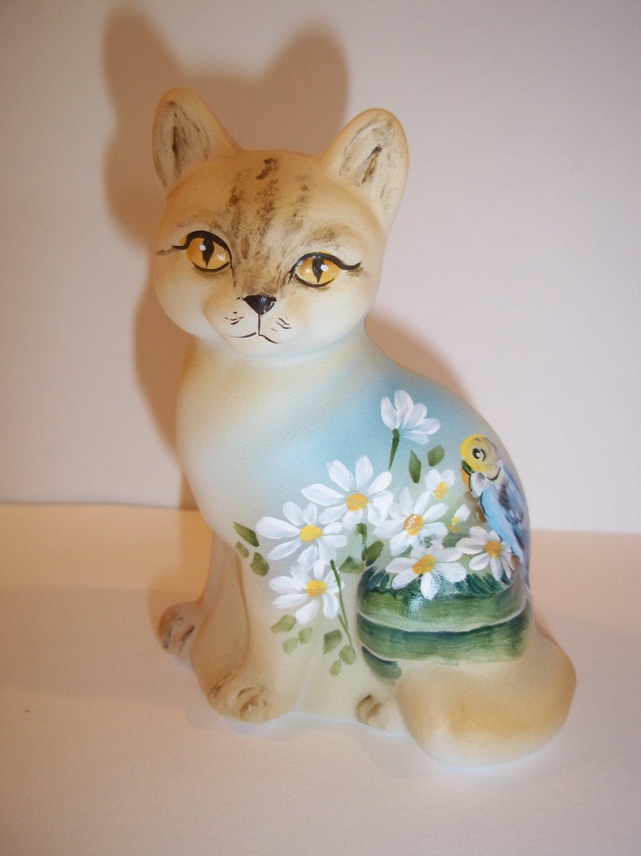Fenton Glass Tabby Cat Figurine Parrot Bird & Daisies Ltd Ed M Kibbe #5/18