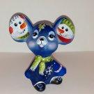Fenton Glass Cobalt Blue Snowman Pals Christmas Mouse Figurine LE #7/28 M Kibbe