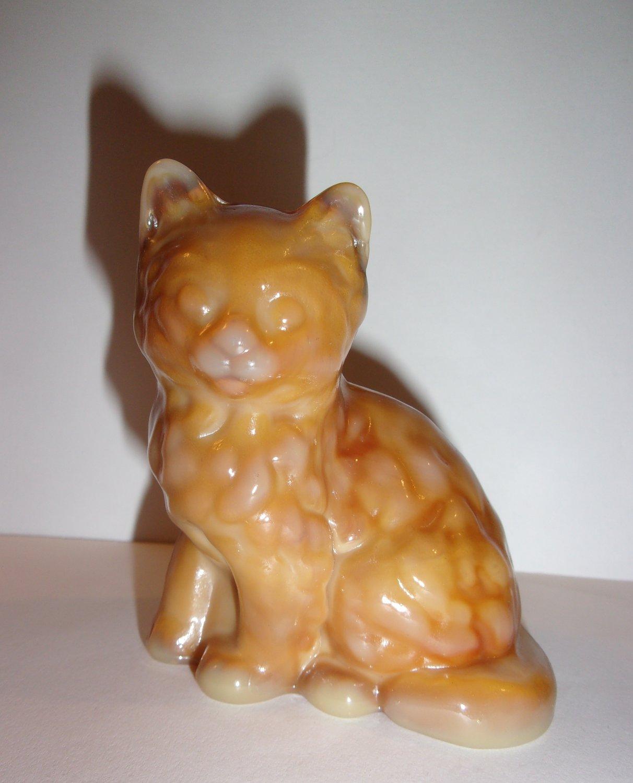 Mosser Handmade Glass Caramel Persian Cat Kitten Figurine Made in USA!