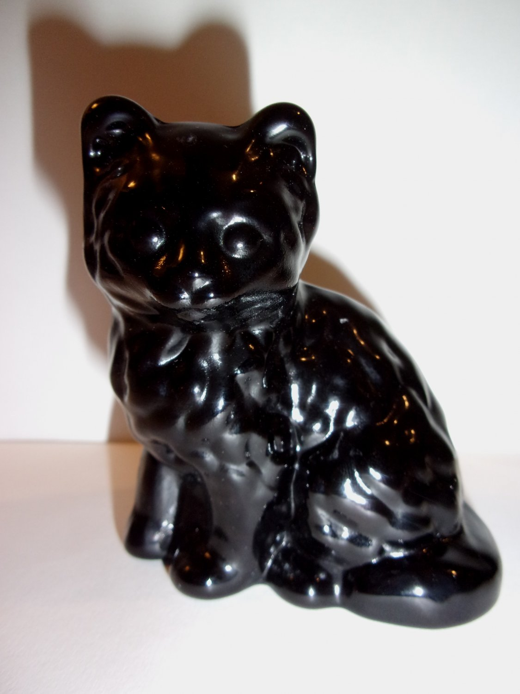Mosser Handmade Glass Black Persian Cat Kitten Figurine Made in USA!
