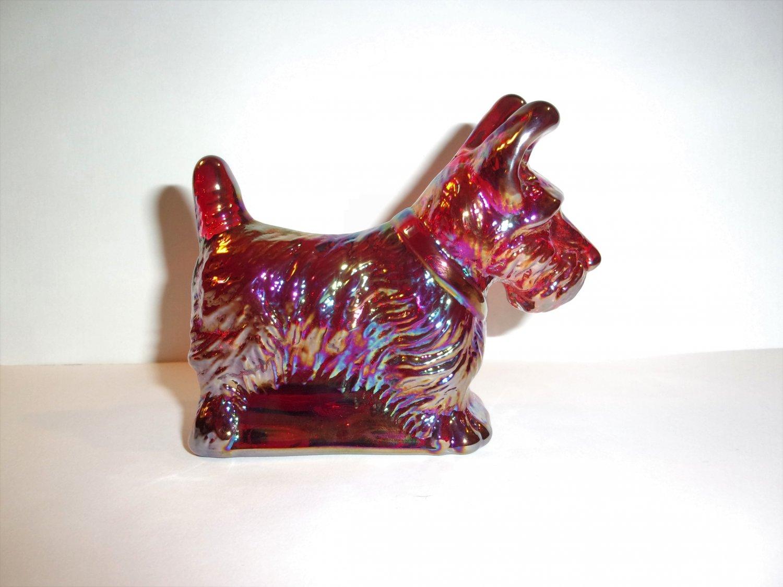 Mosser Glass Red Carnival Scottie Scotty Dog Westie Terrier Figurine Made in USA