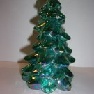 "Mosser Glass Teal Carnival Iridized 5.5"" Christmas Tree Figurine Made In USA!"