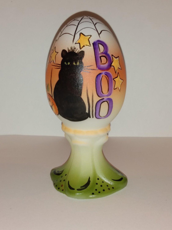 "Fenton Glass Halloween ""Boo"" Black Cat Egg on Stand GSE Kim Barley Ltd Ed #21/21"