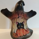 Fenton Glass Happy Halloween Ghost Figurine Black Cat GSE Ltd Ed #18/33 M Kibbe