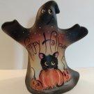 Fenton Glass Happy Halloween Ghost Figurine Black Cat GSE Ltd Ed #18/33 M Kibbe