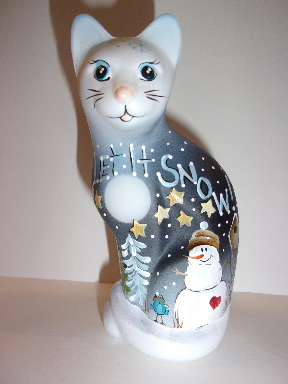 "Fenton Glass ""Let It Snow"" Snowman Christmas Stylized Cat Ltd Ed K Barley #5/31"
