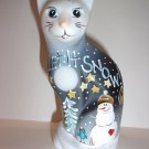 "Fenton Glass ""Let It Snow"" Snowman Christmas Stylized Cat Ltd Ed K Barley #5/31"