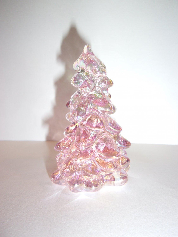 "Mosser Glass Rose Pink Carnival Iridized 2.75"" Mini CHRISTMAS TREE Figurine"