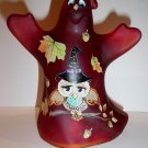 Fenton Glass Red Wizard Owl Halloween Ghost Figurine GSE Ltd Ed #1/23 M Kibbe