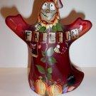 "Fenton Glass ""Fall Fun"" Halloween Ghost Figurine Cat Owl GSE Ltd Ed #6/23 Barley"