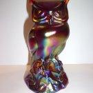 Fenton Art Glass Ruby Red Carnival Iridized Owl Figurine