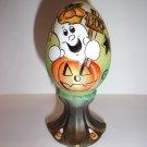 "Fenton Glass Halloween ""Boo"" Ghost Egg on Stand GSE Kim Barley Ltd Ed #8/14"