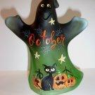 Fenton Glass Green October Cat Halloween Ghost Figurine GSE Ltd Ed #18/25 M Kibbe