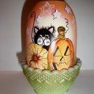 Fenton Glass Trick or Treat Halloween Black Cat Fairy Light K Barley LE #11/19