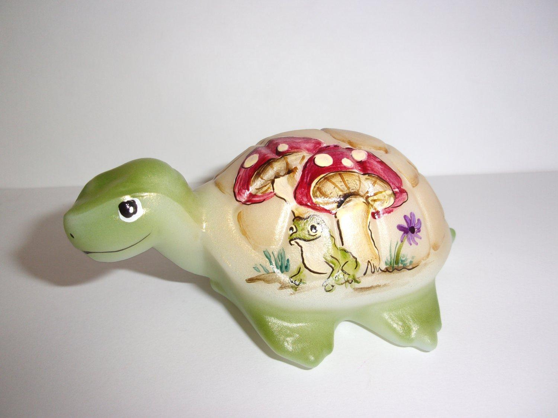 Fenton Glass Frog & Toadstool Mushroom Turtle Figurine Ltd Ed GSE #17/20 M Kibbe