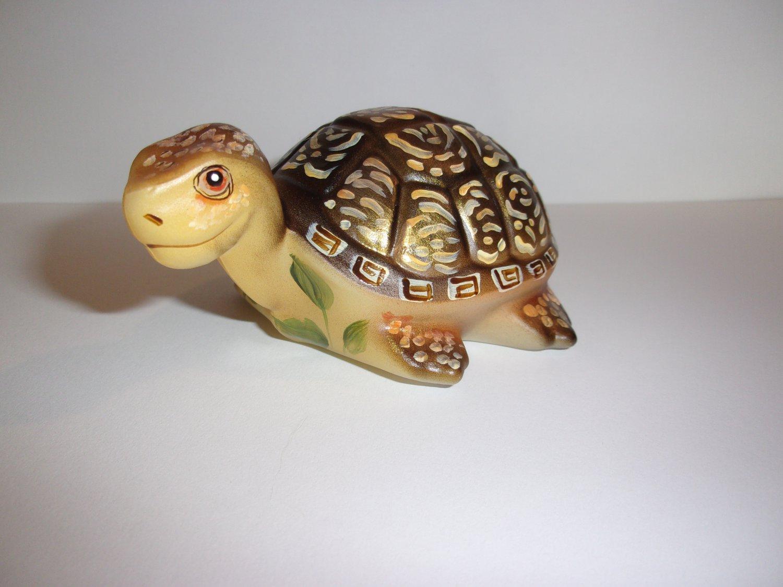 Fenton Glass Golden Boy Natural Painted Turtle Figurine Ltd Ed GSE #19/24 Barley