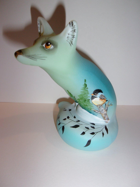 Fenton Glass Jadeite Jade Green Chickadee Bird Fox Figurine Ltd Ed Barley #9/23